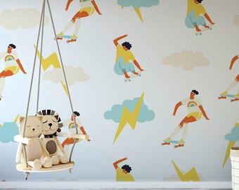 Roller Skates & Lightning Coeval Wallpaper Mural - Removable Self-adhesive Wallpaper