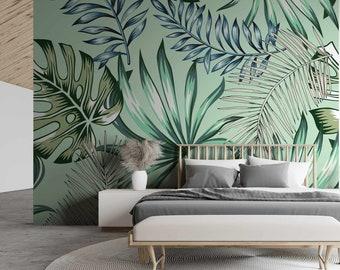 Green Leafy Matrans Wallpaper Mural - Removable Self-adhesive Wallpaper