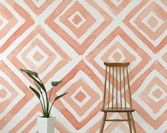 Peach Watercolour Pattern Peach Wallpaper Mural - Removable Self-adhesive Wallpaper