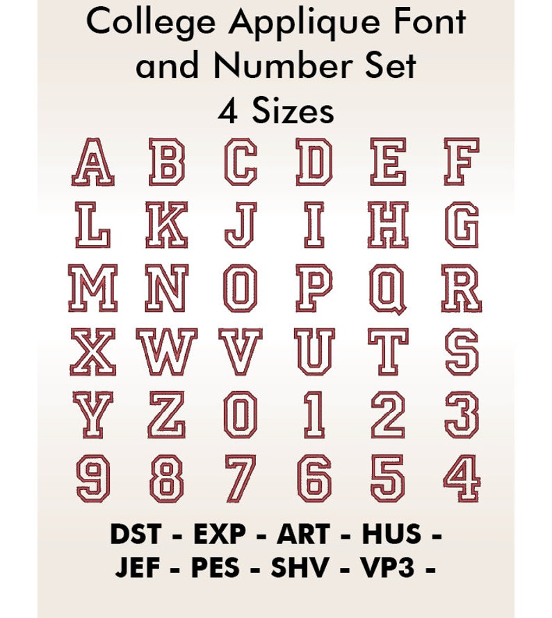 College Letters and Numbers Applique Set embroidery applique designs Different sizes available embroidery sayings Embroidery Files