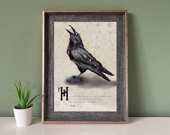 Hugin and Munin Norse Raven Viking Saga A4 Print Wall Art