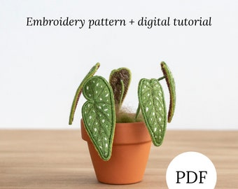 Begonia Maculata Stumpwork Embroidery Pattern, Hand Embroidery Plant Pattern,Instant Digital Download, Embroidery DIY Pattern, DIY Stumpwork