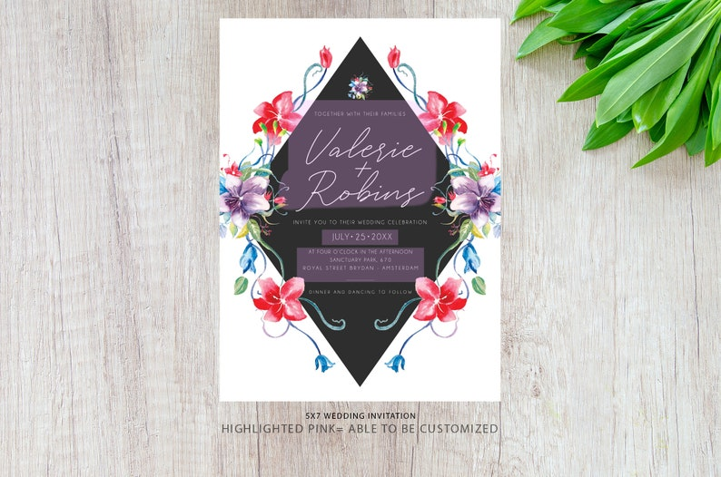 Personalized Wedding Invites Vintage Flower Wedding Invitations PRINTED