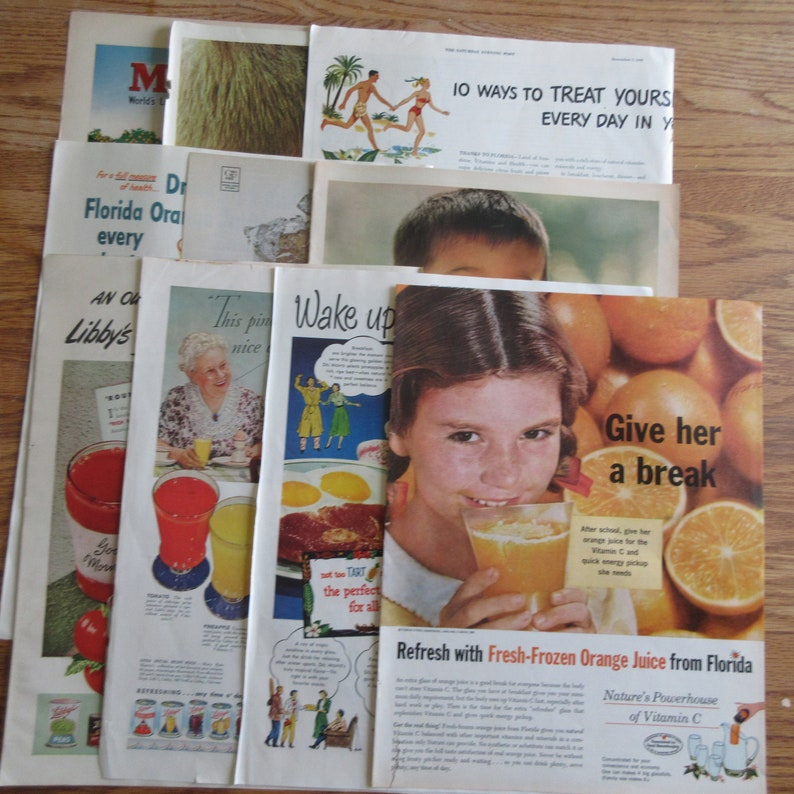 Junk JournalCollage Art Vtg Craft Supplies 10 Full Page Juice Ads