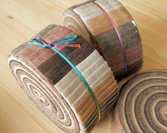 "Sale! Beautiful 40 Strips Japanese Yarn Dyed Fabric Roll 2.5"" x 42"""