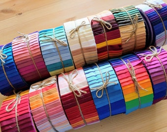 """Sale! 40 Strips Premium Solid Color Cotton Fabric Roll / Strips 2.5"""" x 42"""" for Patchwork / Quilting"""
