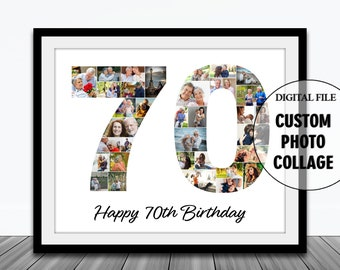 70th Birthday Photo Collage-70 Year Photo Collage-Number 70 Photo Collage-Seventy 70 Birthday Collage-Printable Collage-Birthday Gift