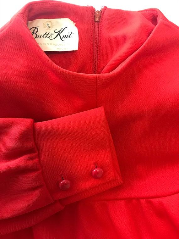 """Vintage Red MOD Dress by """"Butte Knit"""" w/ zipper. 6"""