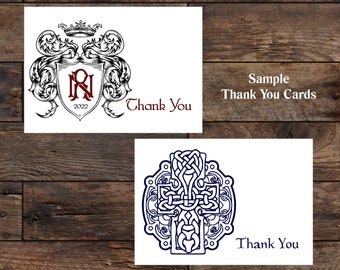 THANK YOU CARDS, Custom Thank You Cards, Cheap Thank You Cards, Matching Thank You Note Card Set
