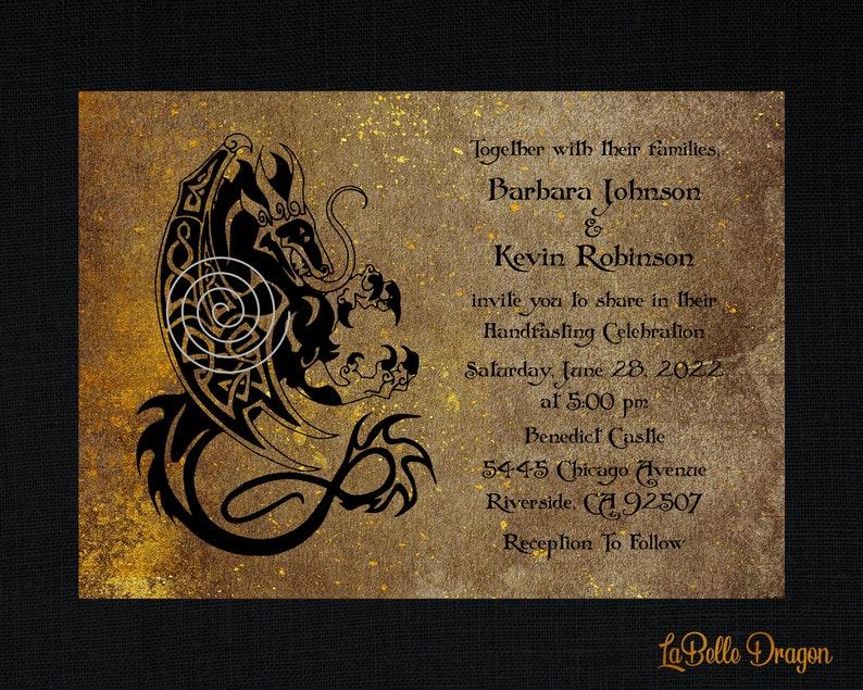 Viking Green Parchment Dragon Invitation Cheap Wedding Invitations Viking Design Invitation VIKING NORSE PARCHMENT Wedding Invitation