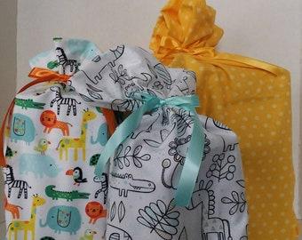 Reusable Gift Bag, Baby Gift Bag, Birthday Fabric Gift Bag, Fabric Gift Bag, Cotton Gift Bag, Wine Gift Bag, Celebration Gift Bag