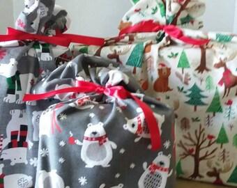 Reusable Gift Bag, Christmas Fabric Gift Bag, Fabric Gift Bag, Cotton Gift Bag, Wine Gift Bag, Holiday Gift Bag, Christmas Gift Bag for Kids