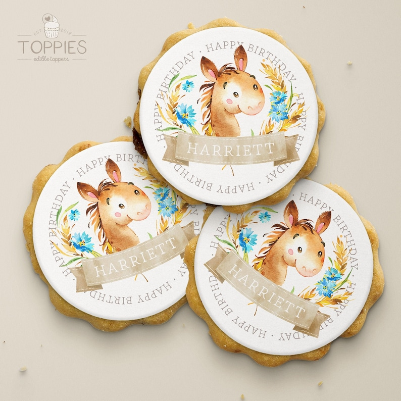 Custom Round Cupcake Icing Fondant Pack of 12 Birthday Horse Thank You Personalised Edible Cake /& Cookie Toppers 50mm Party