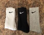 Nike Crew Sock 3 Pack White Black Gray