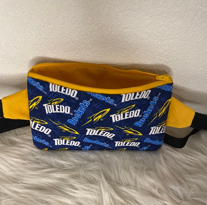Purse Pouch Fully lined with Zipper and Waist Strap Cotton Fabric Handmade Fanny Pack Personalization Free Shipping Toledo Rockets
