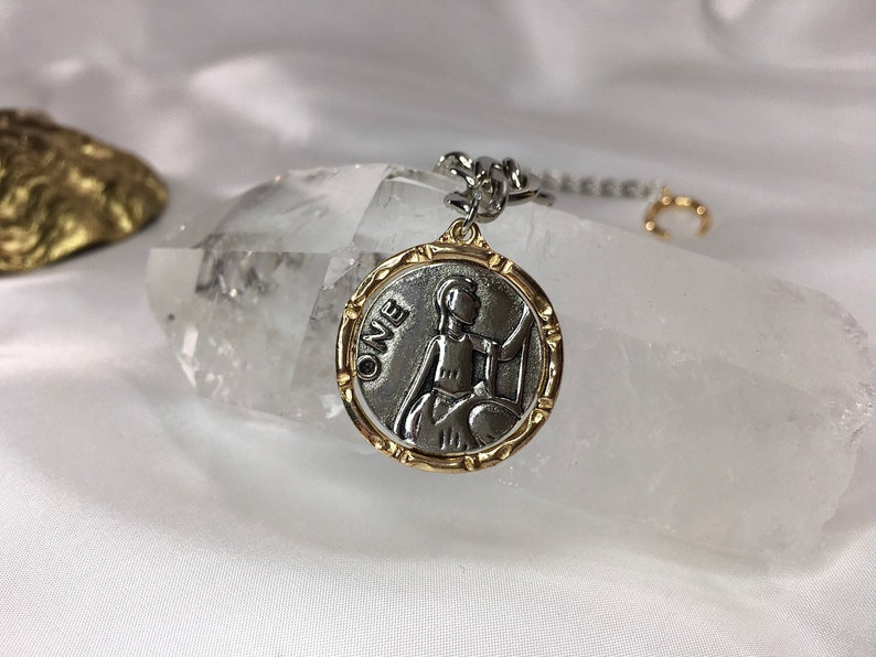 Women\u2019s Jewelry Women\u2019s Necklace Gift for Her Silver Choker with a Gold and Silver Antique Coin Pendant 18K Gold Plated Crescent Moon