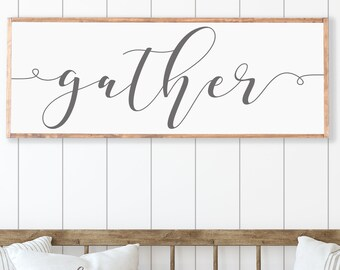 Personalized Framed Wood Sign Dining Room Gallery Wall Gather Wood Sign Gather Sign Large Sign Gather Sign Gather Sign Wood Dining Room Wall Decor Dining Room Signs