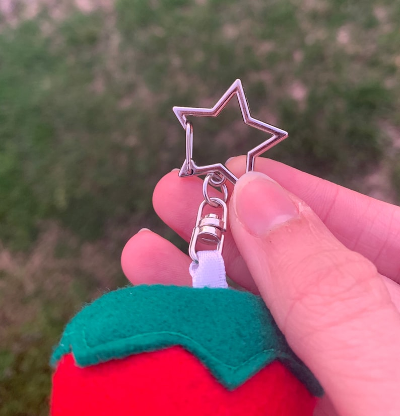 plush keychain kawaii cottagecore anniversary gift Handmade strawberry keychain kids gift gift for her