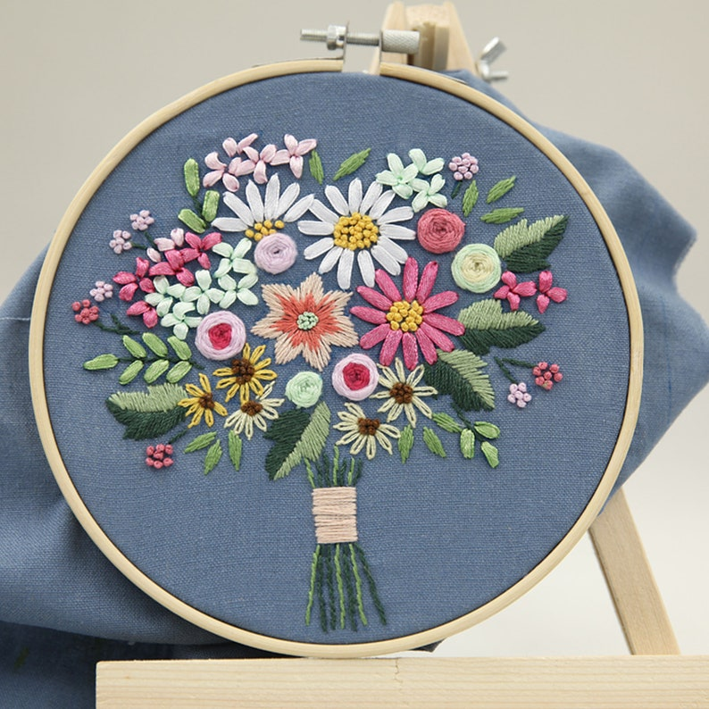 Modern Embroidery Home Decor Floral Embroidery Kits Handmade Floral Embroidery Floral Beginner Embroidery Kit DIY  Embroidery Full Kits