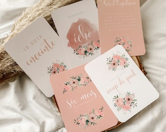 "Pregnancy Steps Cards ""Pink Flowers"""