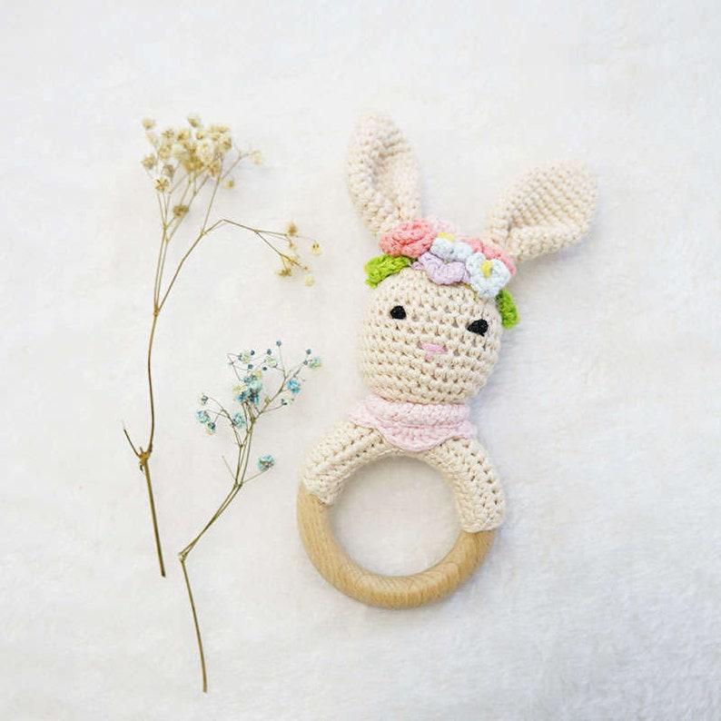 Crochet baby rattlebunny fox deer amigurumi baby toycrochet toy animal rattle teether hand crochetedbaby shower gift crochet
