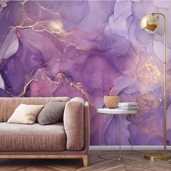 Peel And Stick Purple Gold Abstract Watercolor Wallpaper Mural Etsy