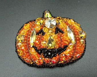 Pumpkin brooch Halloween pin clip Gift for her Orange Carrot Scary Crystal glass Brooch for woman girl mom wife
