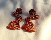 Speckle Rabbit Earrings - Copper Gold Clay - Organic Polkadot Pattern Dangle Studs