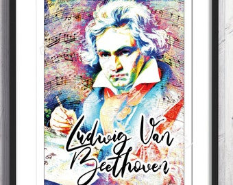 Poster of Ludwig Van Beethoven, A4, A3 formats, printed on 300 grams paper