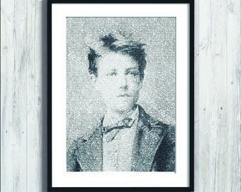 """Poster of french poet Arthur Rimbaud drawn with the words of """"A season in hell"""" - Wall poster, A4 / A3 format"""