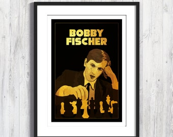 Poster Bobby Fischer, World Chess Champion, A4, A3 poster