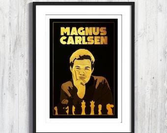 Poster Magnus Carlsen, World Chess Champion, A4, A3