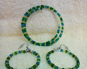 Set-Bracelet /& Earrings Artisan Made Stones WhiteBrownRed Shell Stretch OOAK Choice of Size of bracelet and style of earrings