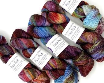 Blanket of stars Hand dyed merino yak sock yarn Ready to Ship purple brown speckled