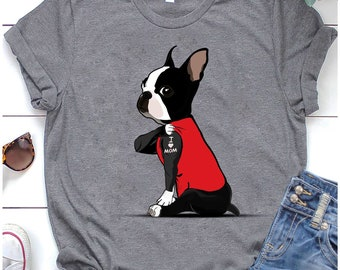 Boston Terrier Pocket Pet Red Adult T-Shirt