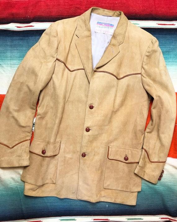 "1940s ""Californian"" Western Suede Blazer / Suit Co"