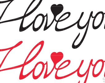 Love SVG, I Love You Svg, Calligraphic Text With Heart Svg, I Love You Quote Svg, Eps Png, Cut files