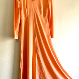 Long Maxi Dress 60s MCAVOY Gold Satin Hostess Dress Museum Quality Golden Gown with Sparkly Buttons from McCavoy Atlantic City Boardwalk