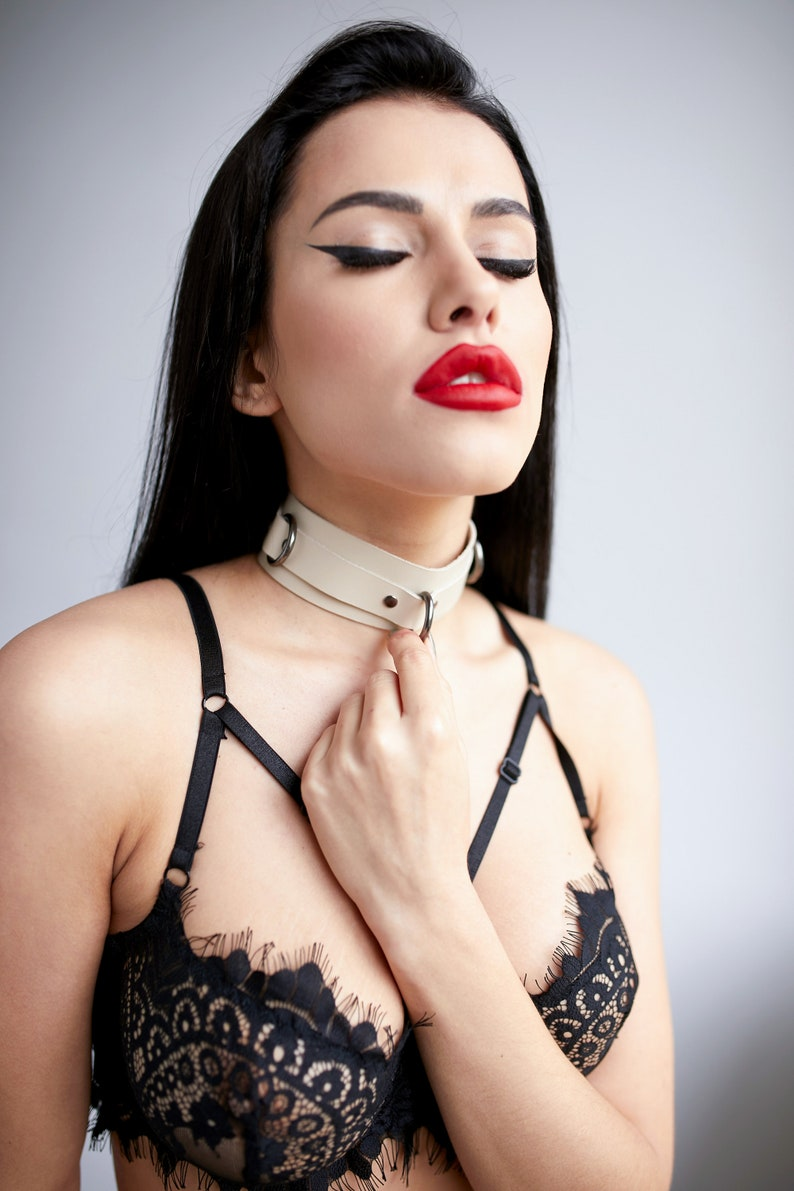 BDSM Day Collar Choker with rings Leather collar Choker bondage Ring collar Wide Leather Collar Leather Collar BDSM restraint