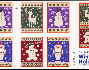 collage scan enlarged. Japanese winter greetings used postage stamps used very small set  10 Japan 2019 ski snow Craft supplies