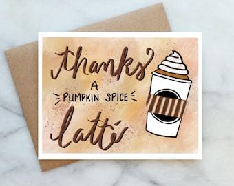 Gratitude Card Thank You Card With Pumpkin Spice Latte Card Grateful Card Thank You Ribbon Card
