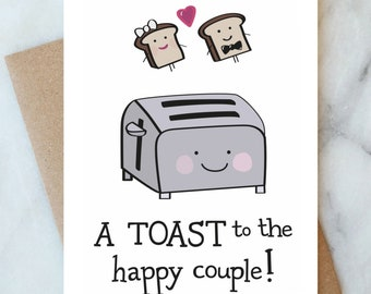 Congratulations Card for Engagement Proposal Wedding Card Toast for the Happy Couple Card Congrats