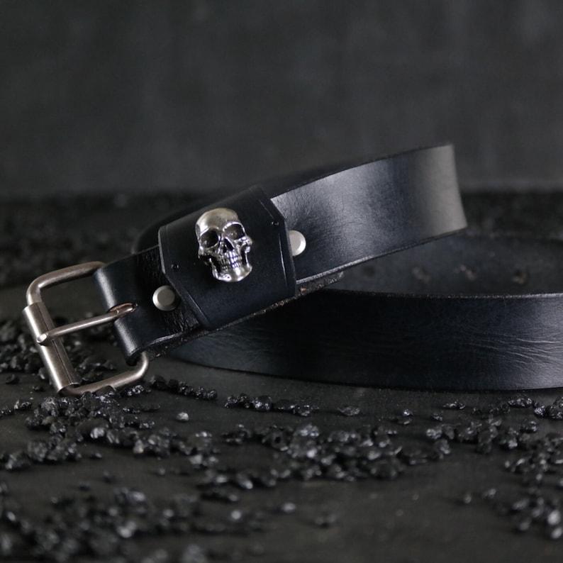 Black 1.5\u201d wide Custom Leather Belt Handmade..SKULL