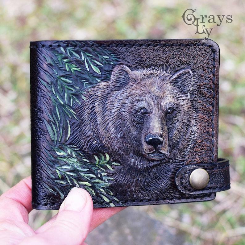 Bear wallet carved wallet custom wallet hand-carved walet mens gift tooled wallet Hand tooled leather wallet