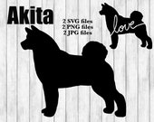 Akita Dog Breed Silhouette Cursive Love Canine Pet Digital Download Cutting File SVG PNG JPG