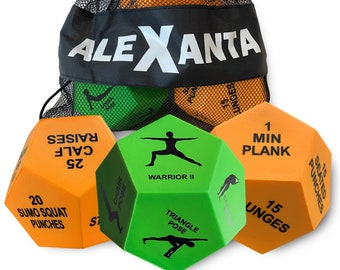 Alexanta Exercise Dice - Full Body Workout, HIIT Workout, Strength Training, Fun Workout Gear, 3X 12-Sided Workout Dice, Mesh Bag Included
