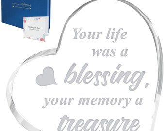 Milyya Sympathy Gifts Memorial Gifts - In Memory of Loved One Gifts, Gifts for Loss of Loved One, Crystal Heart, Funeral Gifts