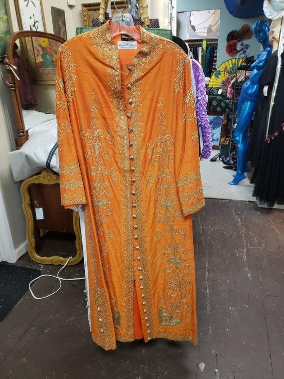 Vintage orange handmade silk kaftan by Mourjana.