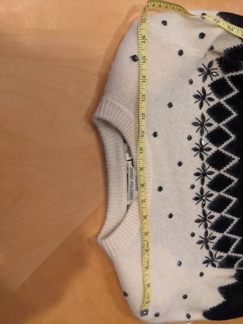 Vintage 80s 90s Christina Grant Petites fair isle knit black and white shift sweater dress with belt size large