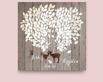 Wedding Tree Rustic Guest book Party Printable File Peachwik Wedding Printable 250 guests Deer Guest Book Rustic Deer Wedding Tree